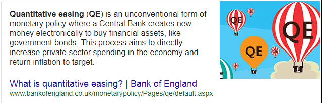 Quantitative easing - goole search snippet